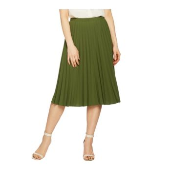 Linea by Louis Dell'Olio Faux de Chine Pleated Pull-On Skirt