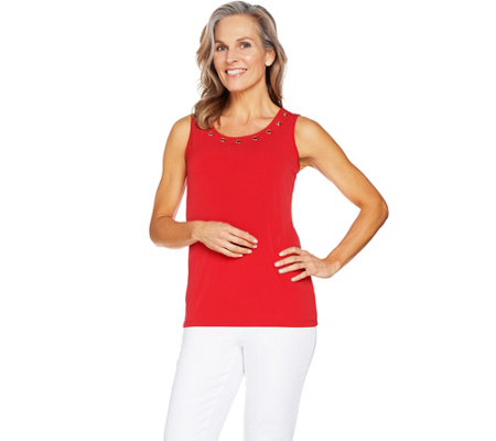 Susan Graver Liquid Knit Tank with Grommets