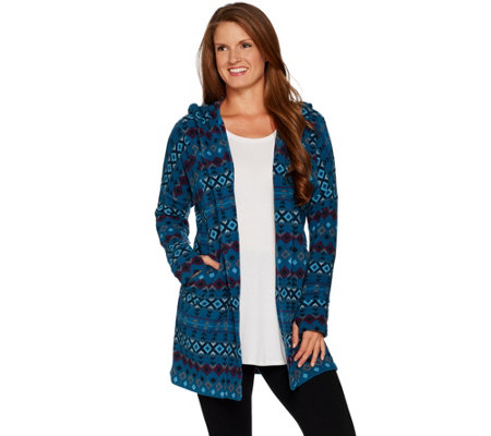 Cuddl Duds Fleecewear Stretch Hooded Long Cardigan with Pockets
