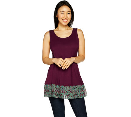 LOGO Layers by Lori Goldstein Solid Tank with Pleated Printed Ruffle at Hem