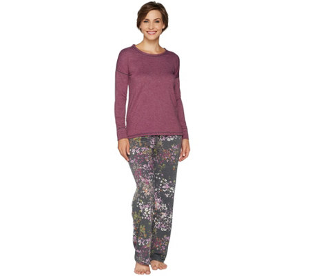 Cuddl Duds Petite Comfortwear French Terry Novelty PJ Set