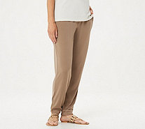 Susan Graver Regular Liquid Knit Jogger Pants w/ Zipper Detail - A296289