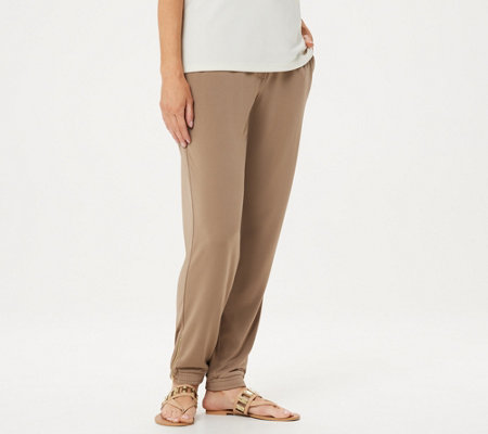 Susan Graver Regular Liquid Knit Jogger Pants w/ Zipper Detail