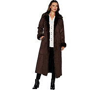 Dennis Basso Full Length Faux Shearling Coat - Regular - A299689