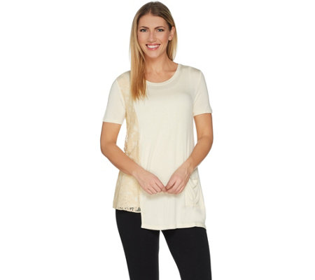LOGO by Lori Goldstein Solid Knit Top with Lace Side Panel
