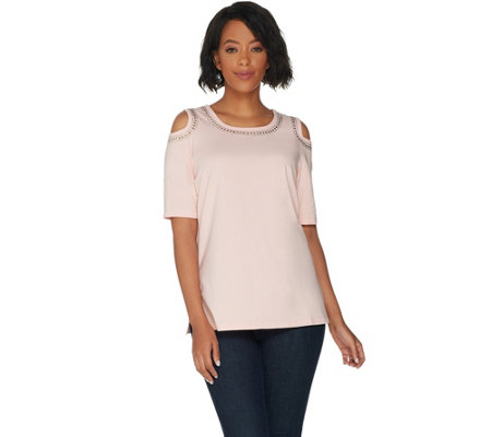 Belle by Kim Gravel TripleLuxe Cold Shoulder Top w/ Detail