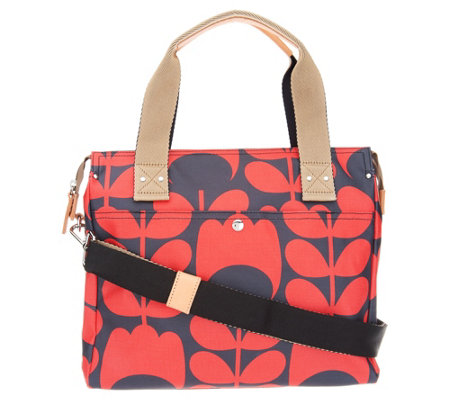Orla Kiely Coated Canvas Zip Top Messenger