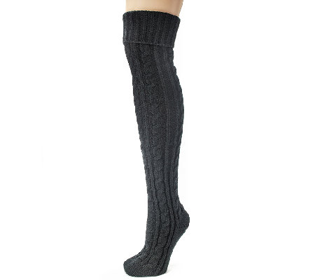 MUK LUKS Women's Cable Knit Over-the-Knee Socks