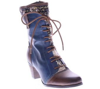 Spring Step L'Artiste Leather and Textile Boots- Quintus - A338189