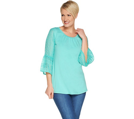"""As Is"" Isaac Mizrahi Live! Elbow Sleeve Knit-to-Woven Tunic"