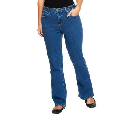 Denim & Co. Petite Classic Waist Rain Wash Stretch Denim 5 Pocket Jeans