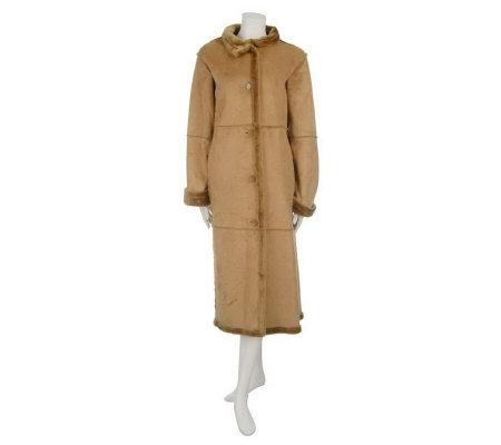Centigrade Washable Faux Shearling Button Front Long Coat - Page 1 ...