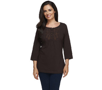 Denim & Co. Perfect Jersey 3/4 Sleeve Tunic w/ Embroidery - A215890