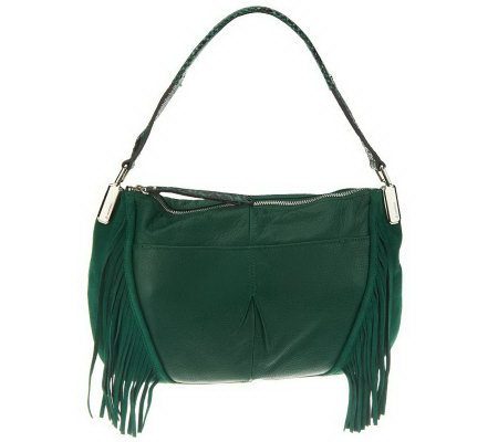 B. Makowsky Pebble Leather Zip Top E/W Shoulder Bag w/Fringe Detail