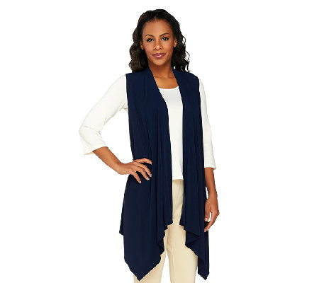 George Simonton Crystal Knit Cascade Front Asymmetrical Vest