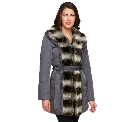 Dennis Basso Water Resistant Coat w/Faux Chinchilla Fur Trim