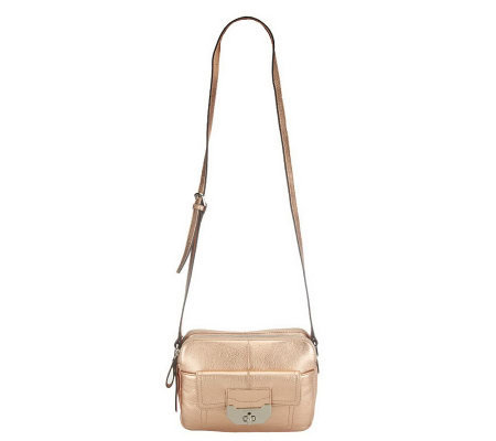 B. Makowsky Pebble Leather Double Zip-Top Adjustable Crossbody Bag