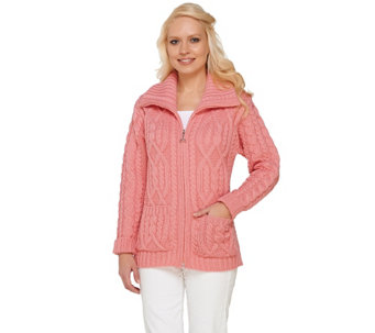 Aran Craft Merino Wool Zip Front Cardigan w/ Pockets - A231190