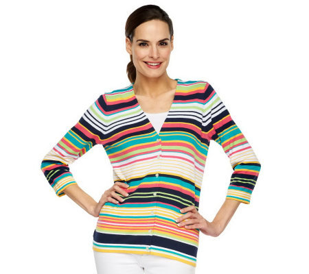 Liz Claiborne New York 3/4 Sleeve V-Neck Striped Cardigan