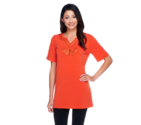 Quacker Factory Split Neck Knit Tunic with Sequin Butterfly