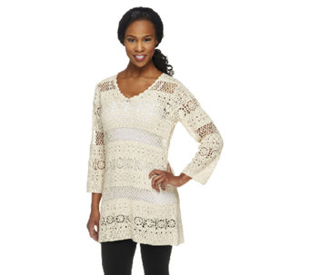 Denim & Co. V-neck 3/4 Sleeve Open Crochet Sweater - A232990