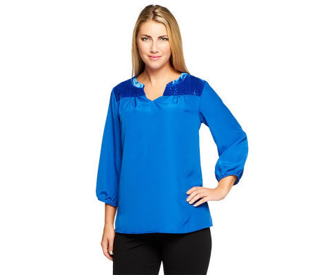 Isaac Mizrahi Live! Quilted Velvet Detail Top
