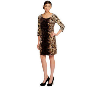 Isaac Mizrahi Live! Animal Print Knit Velvet Dress - A238090