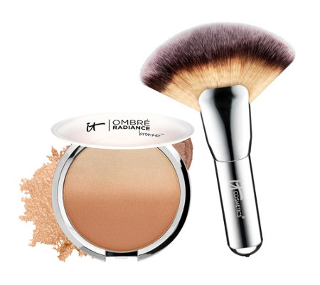 IT Cosmetics CC Anti-Aging Ombre Radiance Bronzer w/ Luxe Mega Fan Brush