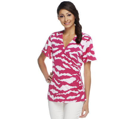 Susan Graver Liquid Knit Surplice Wrap Printed Top