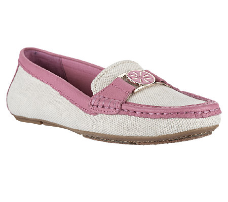 Isaac Mizrahi Live! Canvas Moccasins with Leather Trim