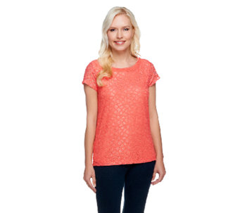 Isaac Mizrahi Live! Short Sleeve Knit Lace Top - A254790