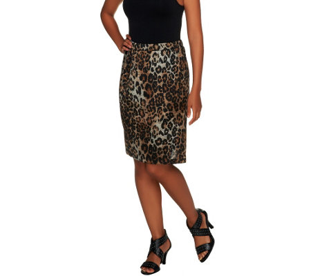 George Simonton Leopard Print Pencil Skirt