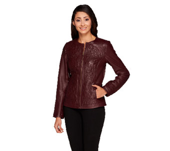 Isaac Mizrahi Live! Paisley Quilted Lamb Leather Jacket - A256490