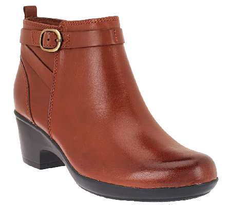Clarks Leather Ankle Boots w/ Buckle Detail - Malia Hawthorn