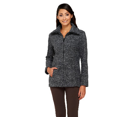 Susan Graver Melange Polar Fleece Long Sleeve Zip Front Jacket