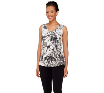 Styled by Joe Zee Floral Printed Top with Overlay - A265290