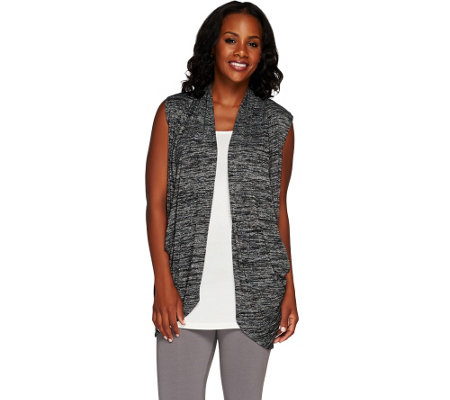 LOGO by Lori Goldstein Space Dye Open Front Sweater Vest