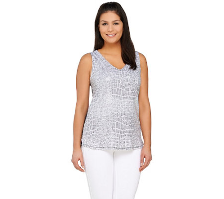 Kelly by Clinton Kelly Printed Sequin Tank