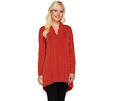 Susan Graver Liquid Knit Long Sleeve Tunic with High-Low Hem