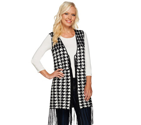 Attitudes by Renee Houndstooth Vest with Fringe Detail