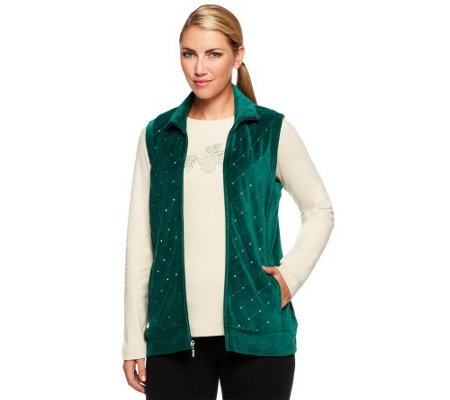 """As Is"" Quacker Factory Sparkle Velour Vest w/ Rhinestud Long Sleeve Tee"