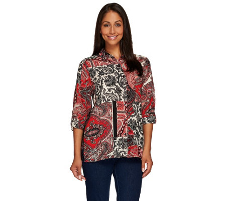 Susan Graver Printed Feather Weave Shirt with Roll Tab Sleeves