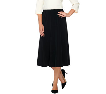 Susan Graver Liquid Knit Comfort Waist 8 Gored Pull-On Skirt - A269290