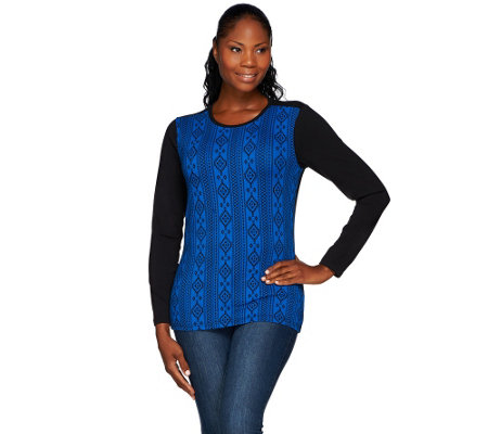 Denim & Co. Vertical Printed Long Sleeve Top
