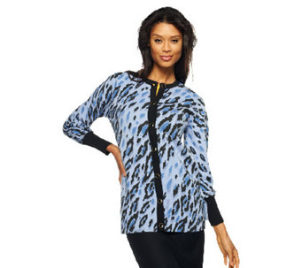 """As Is"" Bob Mackie's Long Sleeve Leopard Print Button Front Cardigan - A272090"