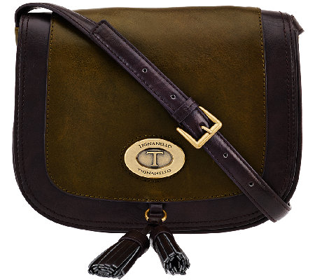 Tignanello Glazed Vintage Leather Saddle Crossbody Bag