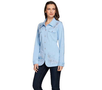 Quacker Factory Embellished French Terry Jeanne Jacket - A272890