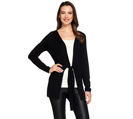 H by Halston Tie-Front Long Sleeve Knit Cardigan