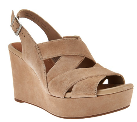 Clarks Artisan Suede Criss-cross Strap Wedges - Amelia Alice