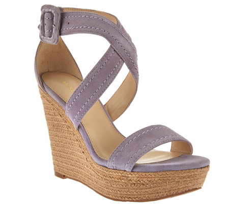 Marc Fisher Leather or Suede Buckle Espadrille Wedges - Haely